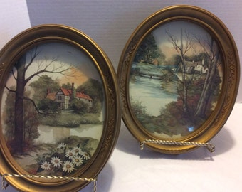 Vintage Homco USA Oval Wall Plaques, Set of 2 Home Decor Pictures, Shabby Chic Gold Frames