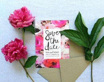 Save the Date: PINK Watercolor Floral