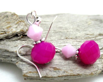 Swarovski Crystal Drop Earrings - Neon Pink Crystal Drop Earrings - Earrings for Sensitive Ears