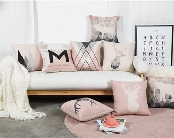 Beautiful 18'' Pink Geometric Decorative pillow cover made of cotton and linen
