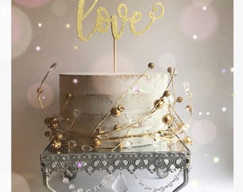 Love Cake Topper| Wedding Cake Topper| Engagement Cake Topper| Valentine's Day Cake Topper| Wedding Decorations| Engagement Decorations