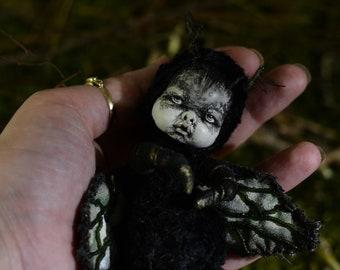 Dark Moth Fantasy art doll  Baby doll  Full set  holiday gift  OOAK  boho doll  decorative doll