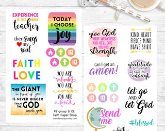 Planner Stickers, Scripture Stickers, Illustrated Faith, Bible Journaling, Happy Planner Stickers, ECLP stickers, Bible Stickers, deco