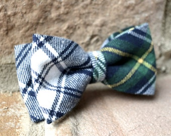 kids bow tie,flannel bow tie,green and navy blue plaid bow tie for boys,green blue yellow plaid bow tie