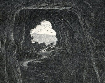 1894 Antique German Print Engraving of Caves - Back-to-back Print