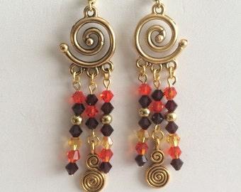Gold Spiral Dangle Earrings