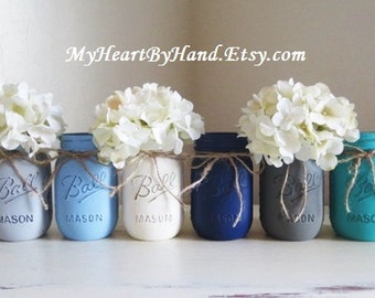 Baby Shower Mason Jar Centerpieces, Nautical Theme, Painted Ball Jars, Flower Vases, Baby Boy Shower, Rustic Home Decor, Wedding Centerpiece