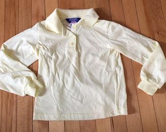 Vintage 1980s Girls Yellow Polo School Uniform Shirt! Size 6