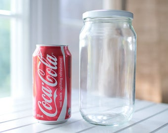 12 x 1000ml (1 litre) large round glass jars - White / black / gold / silver metal lids -