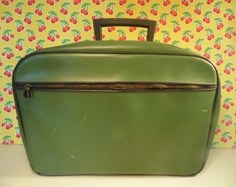 Small Green Suitcase - Faux Leather - Soft Body - 1970s - As Is