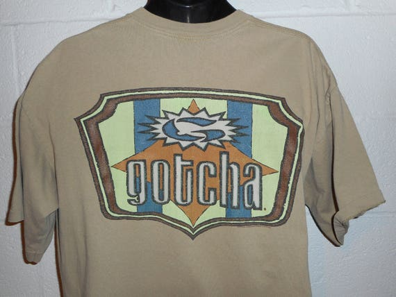 Vintage Gotcha Shirt - Loud Neon Graphics - Retro Surfing - Men's Extra Large dODv7NQK