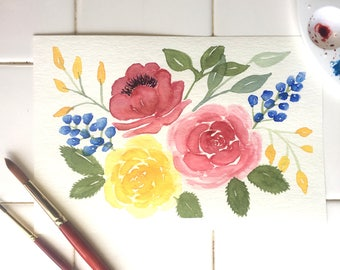 Loose Florals//Hand painted Watercolor Illustration, Spring Flowers, Wall Art