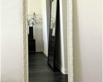 """Bella Ornate Embossed Antique White Leaner Wood Framed Mirror 24"""" x 64"""""""