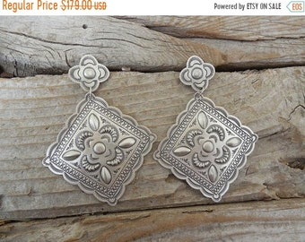 ON SALE Large repousse earrings handmade and signed in sterling silver 925 by Joe Harris, a Navajo silversmith