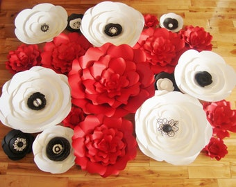 Set of 20 Paper Roses and Anemones - Paper Flowers | Paper Flower Backdrop | Wedding Backdrop | Paper Rosed | Baby Nursery Decor | Anemones