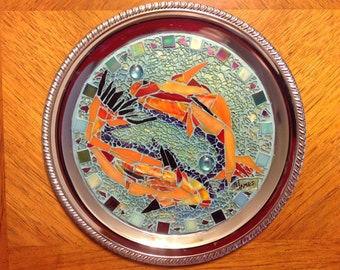 "Beautiful 13"" chrome platter with Koi (goldfish) mosaic by artist, Sharon James"