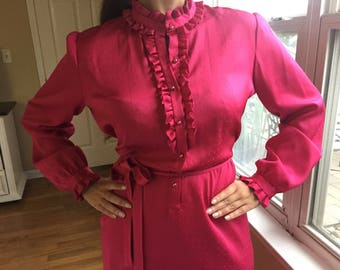 1980's Hot Pink Ruffled Satin Dress