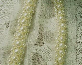 pearl beaded Trim,  rhinestone trim, bridal sash trim, jewelry trim, pearl beading trim,, luxury trim