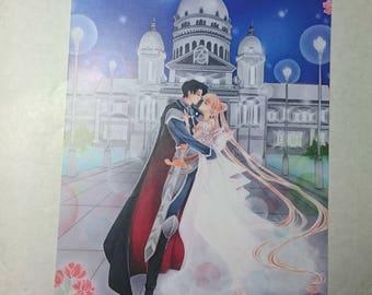 """""""Moon Romance"""" A6 postcard"""