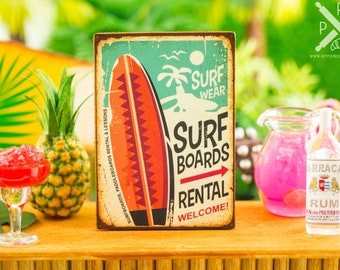 Made to Order Miniature Surf Board Rental Sign - Retro Style Print - 1:12 Dollhouse Miniature