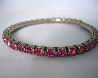 Pink Rhinestones Crystal Bangle - Vintage - Rose - Retro - 90's - Fashion Jewelry - Bling Bling