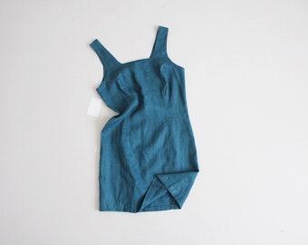 sun washed teal linen mini dress | teal dress | short linen dress