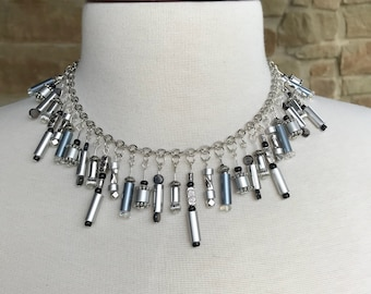 One of a kind knitting needle and additional bead necklace