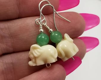 Elephant Earrings, Ivory and Jade Colored Beaded Elephant Earrings, Elephant Jewelry