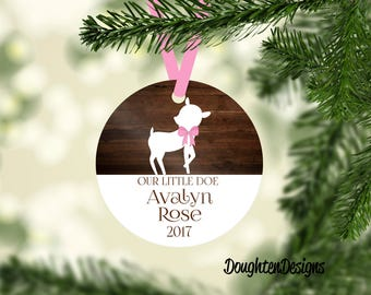 Baby's First Christmas Ornament, Personalized Christmas Ornaments, Deer Ornament, Christmas Gift, Aluminum Ornament, Girl Ornament