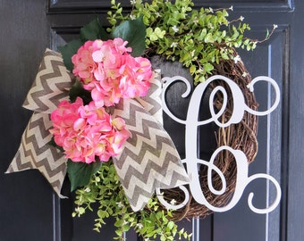 Pink Hydrangea Wreath. Spring Wreath. Summer Wreath. Monogram Wreath. Front Door Wreath. Chevron Wreath. Burlap Wreath. Grapevine Wreath.