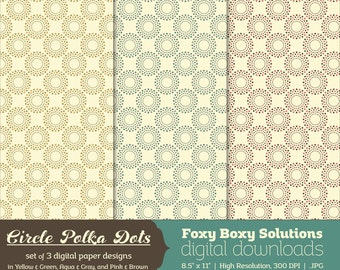 Circle Polka Dots Pattern Digital Paper Pack set of 3 Digital Papers for Scrapbooking/Card Making/Crafting, Instant Download