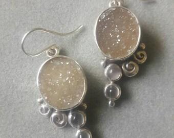 Sterling Silver Asymmetric Spiral Druzy & Moonstone Boho Statement Earrings