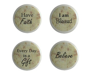 Believe Inspirational Religion Ceramic Cabinet Knobs Drawer Pulls Set of 4 Faith Believe