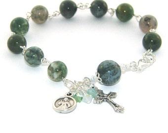 Divine Mercy Rosary Bracelet, Moss Agate gemstone Beads