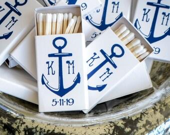 Custom Anchor Monogram Matches, Personalized Anchor Monogram Matchbooks, Custom Nautical Wedding Matches, Printed Anchor Matches