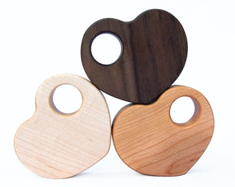 Heart Shaped Wood Rattle // An Eco-Friendly Safe Baby Toy & Teether  // Natural Wood Rattle Makes the Perfect Personalized Baby Shower Gift