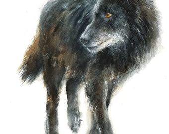 Wolf watercolor Painting - Giclee Print - Home Wall Decor - Black Wolf  Watercolor Illustration - Woodland animals