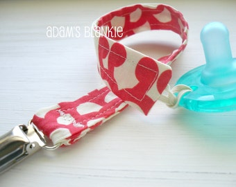 Soothie Avent Pacifer Clips - Cherry Wallflower - SET OF TWO - Design Your Own - 64 Fabrics - for Pacifier/Toy/Rattle/Binkie