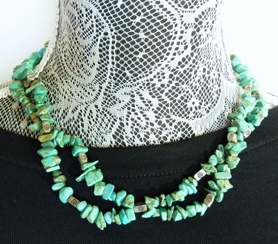 TURQUOISE NUGGET NECKLACE ~ Double Strand ~ Turquoise Nuggets with Pewter Spacers ~ 18 Inches Long With Toggle Clasp