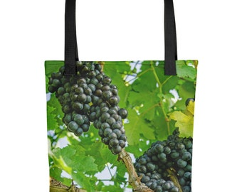 Farmers Market Tote Bag Grocery Shopping Grapes Grapevine Wine Vegetables Farm Produce Fruit Strong Washable Fabric Unique Handmade Handbag