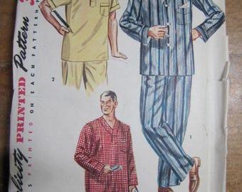 Vintage Simplicity Pattern 4108 Mens 2 Piece Pajamas and Night Shirt Size Small 34-36