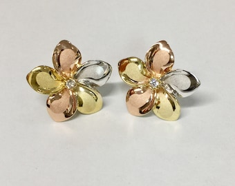 14k tricolor gold plumeria flowers stud cz  Earrings