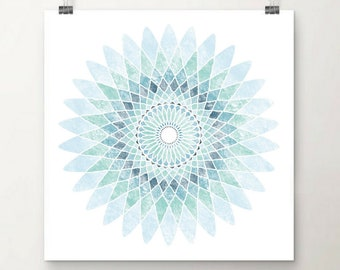 Mandala Flower - Blue - Colourful Mandala Art Print - Home Decor - Wall Art - Sacred Geometry