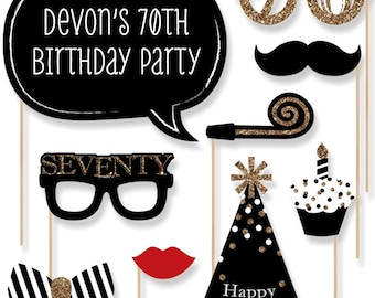 70th Birthday - Gold Party Photo Booth Props - Adult Birthday Party Photobooth Kit with Custom Talk Bubble - 20 Pieces