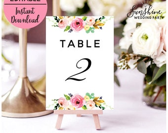 Wedding Table Numbers Table Numbers Table Number Cards Printable Table Numbers Reception Table Number Table Number Signs Templates