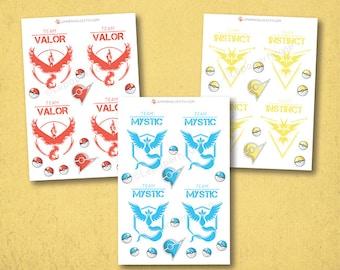Pokemon Teams Aufkleber - Sticker Kawaii Chibi Pokemon Planer, EG Aufkleber, persönliche Planer