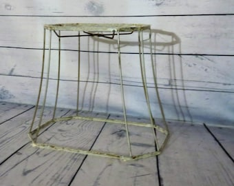 Wire lampshade frame etsy wire lampshade frame vintage tapered lamp shade 105 high 13 wide greentooth Gallery