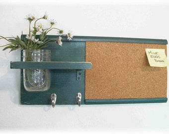 Wood Wall Shelf Cork Bulletin Board Message  Center Hooks Country Teal Blue Green Color
