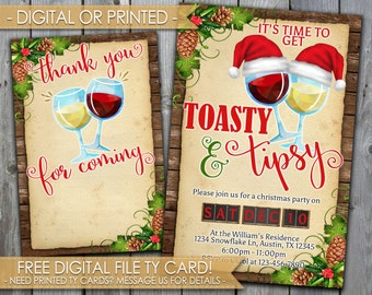 Toasty and Tipsy Christmas Party Invitation, Holiday Party Invitation, Wine, Holly Berry, Eat Drink Be Merry, Red Green Gold, Invite, #453
