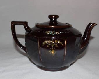 Vintage Ceramic Teapot Hand Painted Flowers, Made in Japan Brown w/Gold Trim